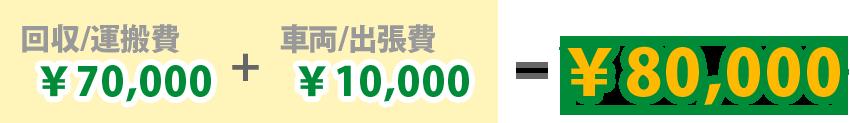 ¥70,000(運搬費) + ¥10,000(車両・出張費)= ¥80,000